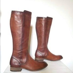 Frye 8.5 Melissa Stud Cognac Zip Boots NWT